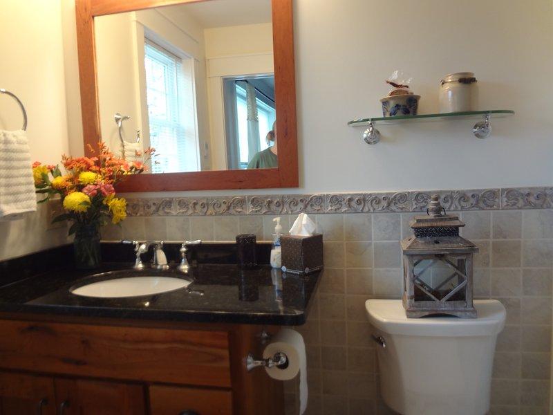 Master Bath Custom Cherry Cabinets, granite counters and heated floors