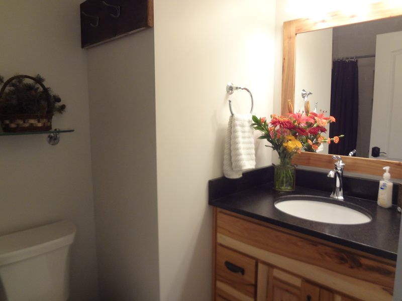 2nd Full Bath,  Heated above fan, subway tile, granite counters
