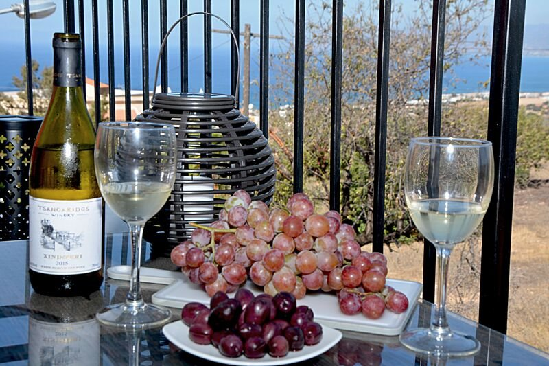 Enjoy a glass of local wine looking over the wonderful views to Chrysochou Bay from  front terrace