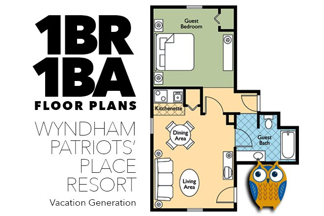 Floor plans and layout for 1 Bedroom Condo at Wyndham Patriots Place