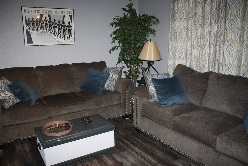 Wonderful Front room with comfortable couches and new flooring