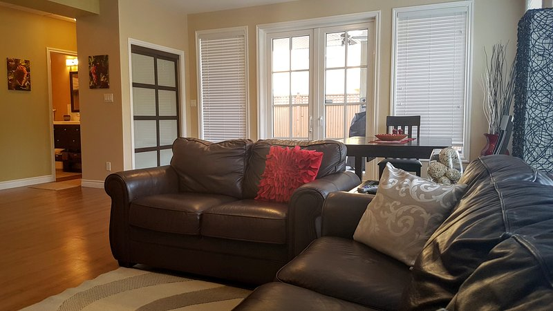 Leather couches in the family room.