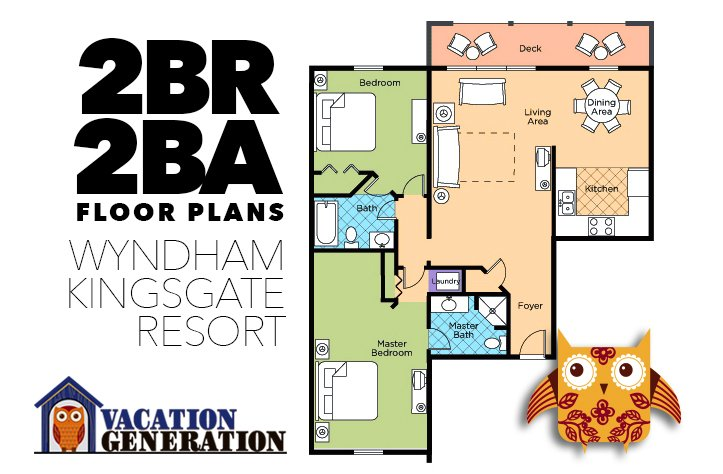 Layout and floor plans for a 2 bedroom vacation rental condo at Kingsgate in Williamsburg