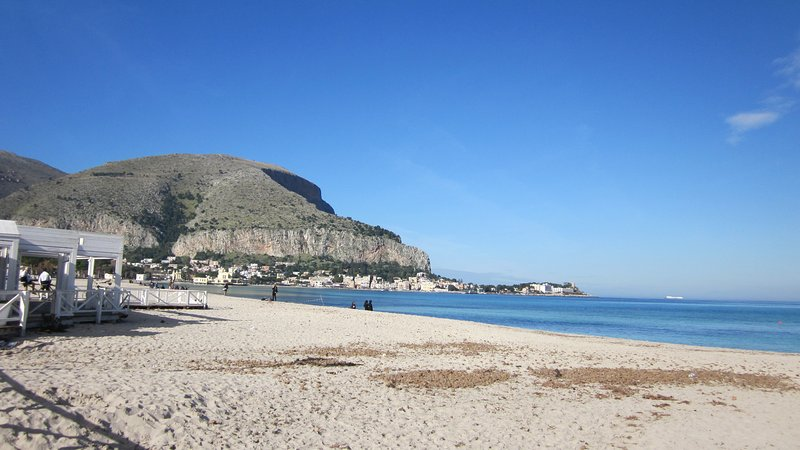 The beach in front of the villa in winter