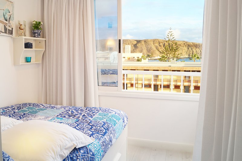 Bedroom view to the Port of Los Cristianos and Montaña Guaza