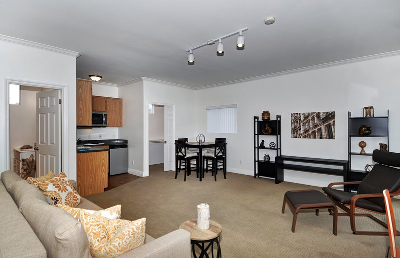 very large studio apartment to maximize your vacation time--set up as living room with futons