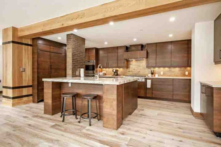 Modern kitchen with bar seating for 2.