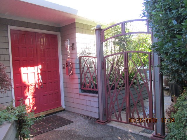 Front doors and entry to the patio.