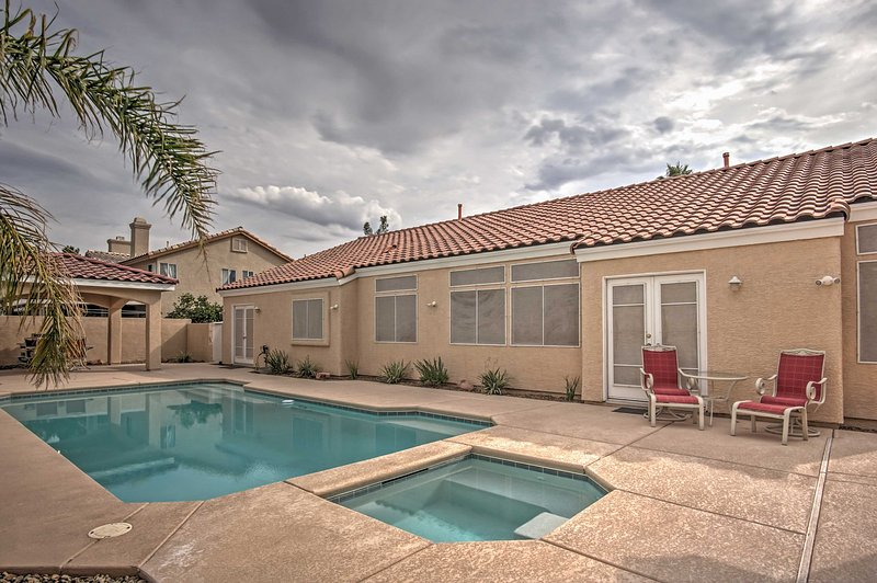 This pristine Las Vegas vacation rental home features a private pool, open from April through October.