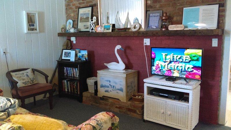 Acogedora sala de estar Zona de gran sofá, TV de pantalla plana, DVD, DVD y Libros