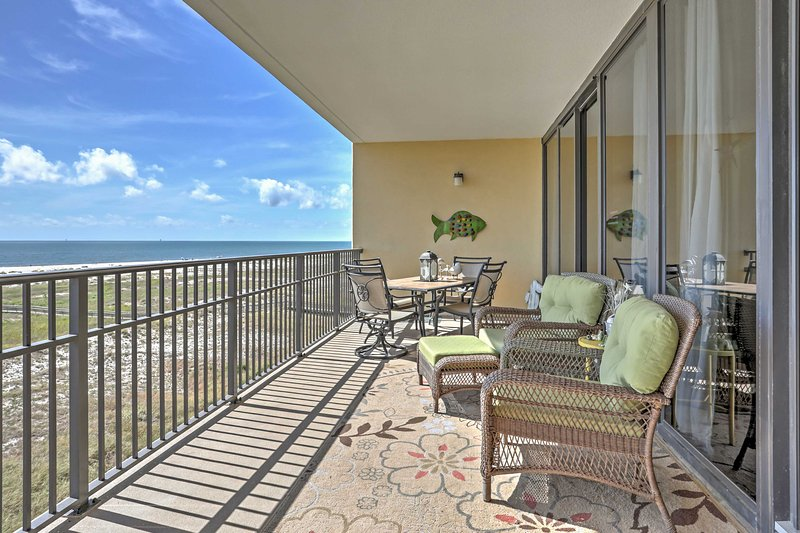 Leave your worries behind and make plans to stay at this oceanfront 2-bedroom, 2-bathroom Dauphin Island vacation rental condo!