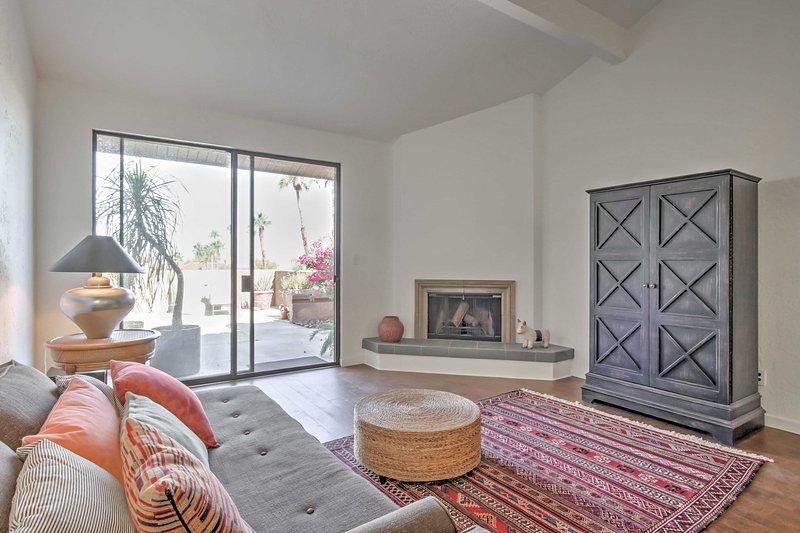 Natural light illuminates this cozy living space.
