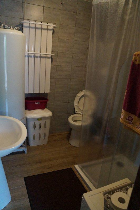 walk-in shower, WC, dryer, hair dryer,