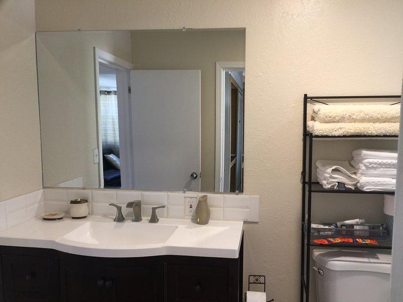 baño de visitas completo con tocador y espejo de cuerpo completo.