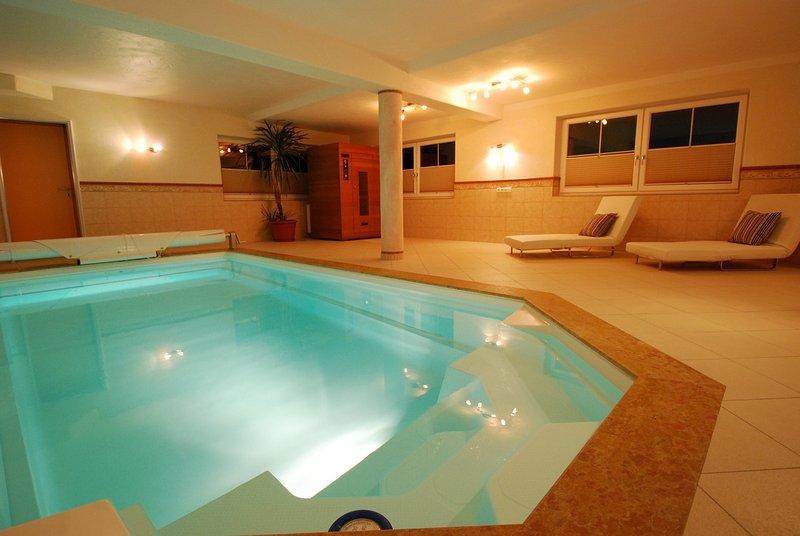 Private indoor pool and IR sauna.