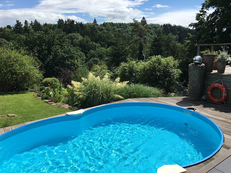 summer pool with 3.000sqm Garden and castle view