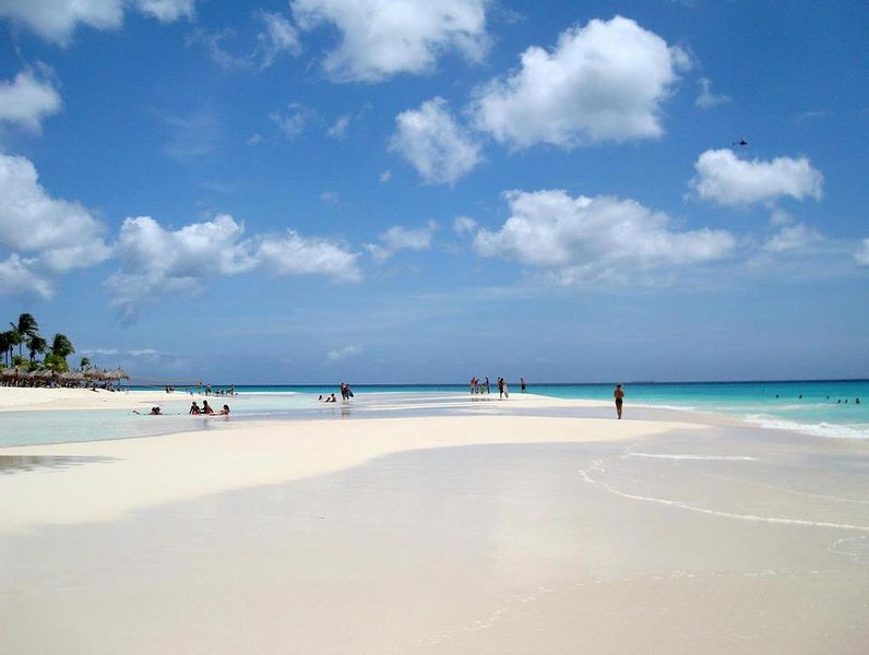 Eagle Beach!..  Rated best beach in the caribbean by USA Today.  Not to shabby...