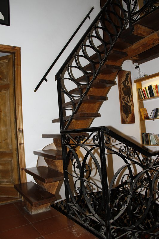 wooden stairs to the guest double room