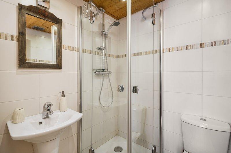 1 cuarto de baño con ducha, lavabo y WC