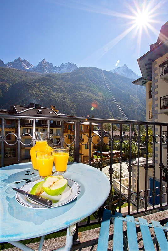 Balcony with views towards Mont Blanc