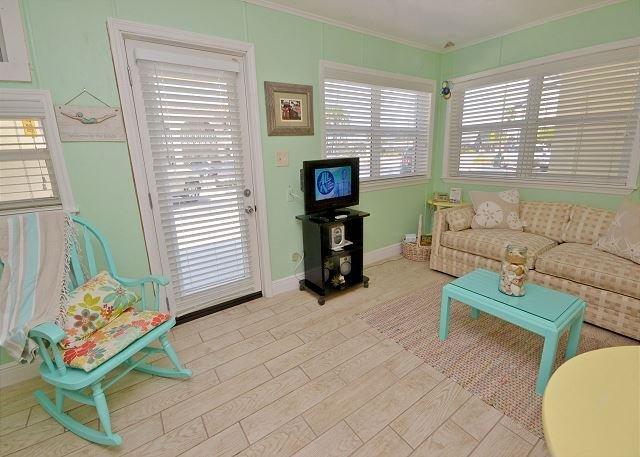 Living area with flatscreen HD TV