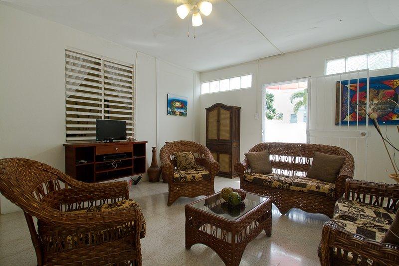 Amplia sala de estar con muebles de TV y cómodos