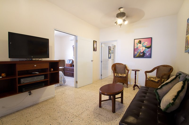 Televisión y área de estudio con futón