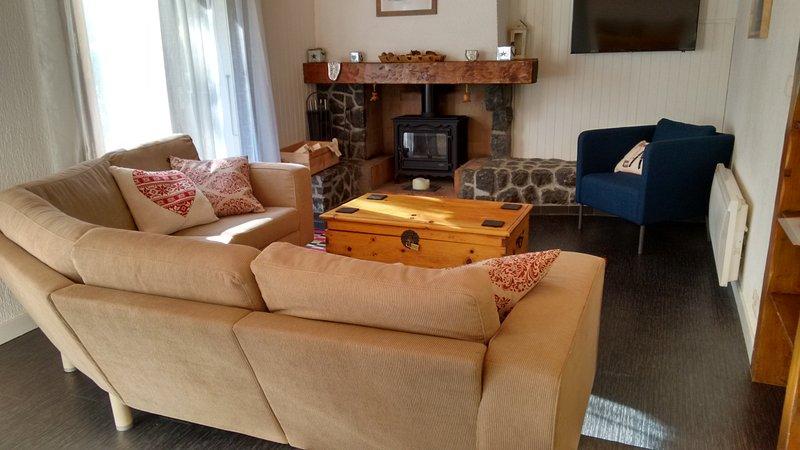 espaciosa sala de estar con sofá de la esquina, la silla de hidromasaje, estufa de leña y TV