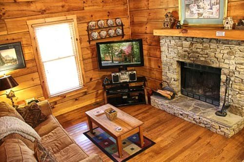 TV and Wood Fireplace