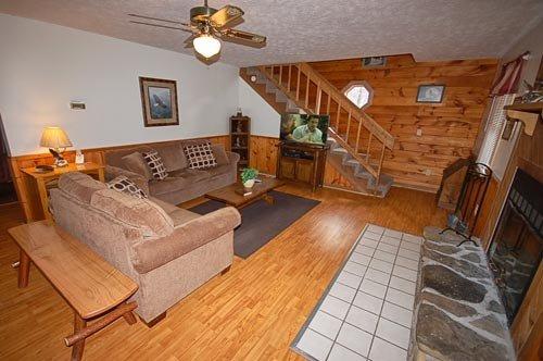 Living room w/Fireplace and Sofa Sleeper