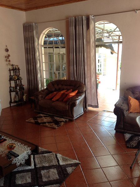 Living room with outside view.  Birds watcher's' paradise