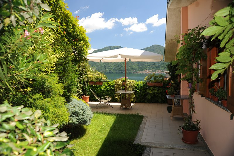 vista del lago desde la terraza con jardín