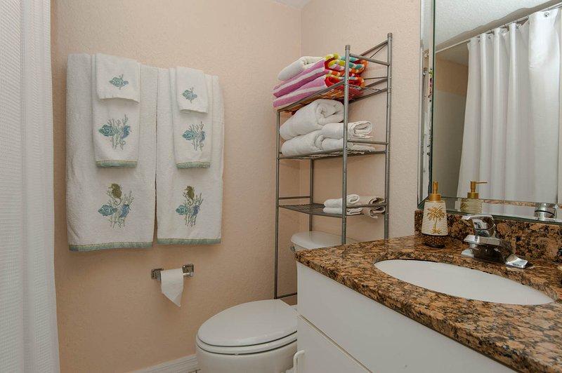 Uno de los cuartos de baño completos, equipado con muchas toallas y también con toallas de playa.