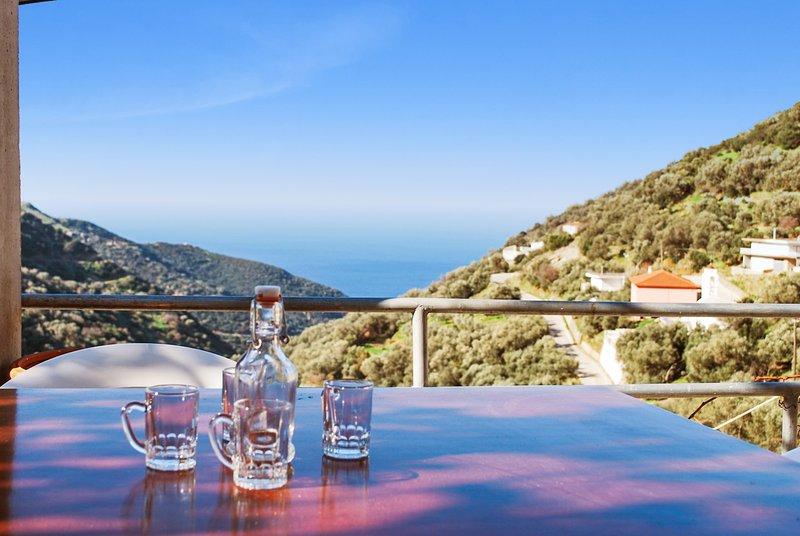 Nice house with sea view & terrace – semesterbostad i Amigdhalokefali