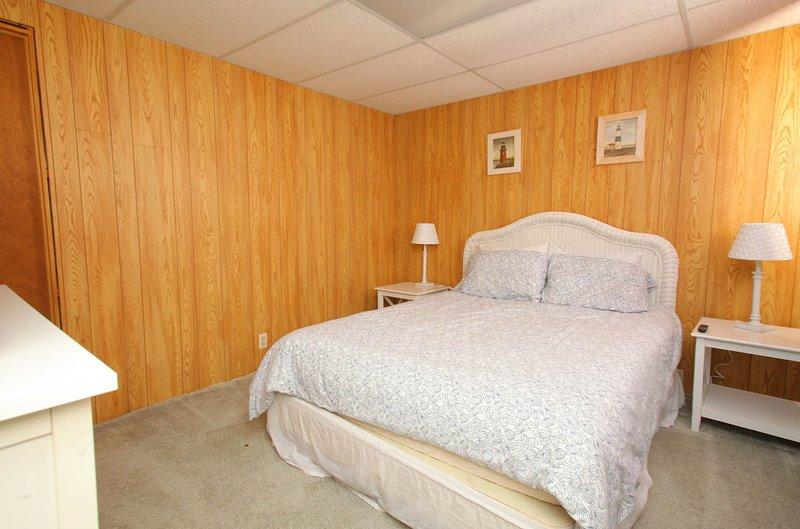 basement bedroom with queen bed