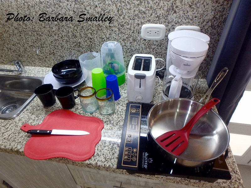 Mini-kitchen comes with basics for making (& eating!) small meals