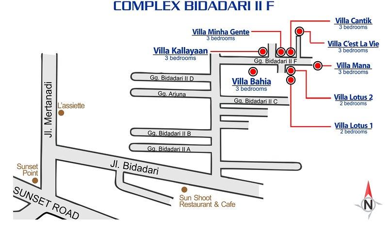Position of the villas