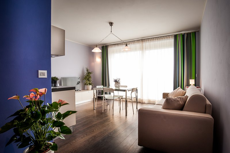 Living with kitchen, sofa bed, satellite TV and wi-fi free.