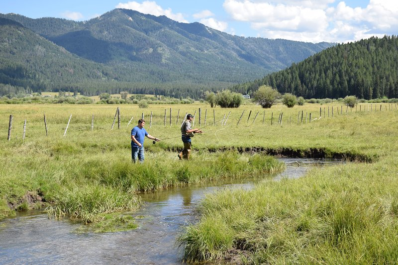 Fly fishing on Willow Creek is available right out our front door.