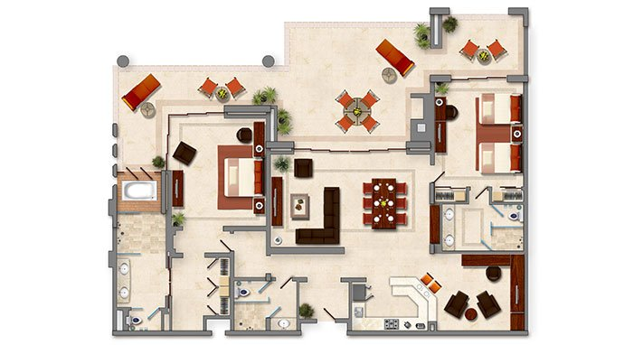 Penthouse Layout (Murphy bed located to room at the right of the entrance)