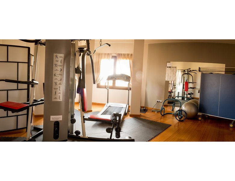 The Gym with multi-gym, running machine, free weights, exercise frame, ball & table tennis table.