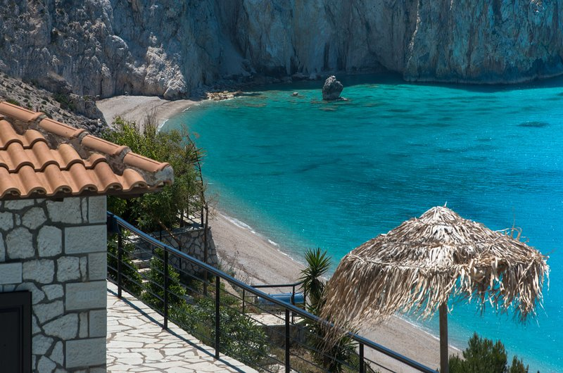 Beachfront luxury villa above the most exclusive beach on Lefkada, holiday rental in Lefkada