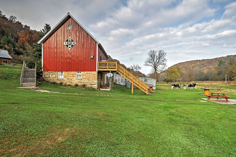 Unique Renovated Winona Barn w/2 Decks on 80 Acres, holiday rental in Galesville
