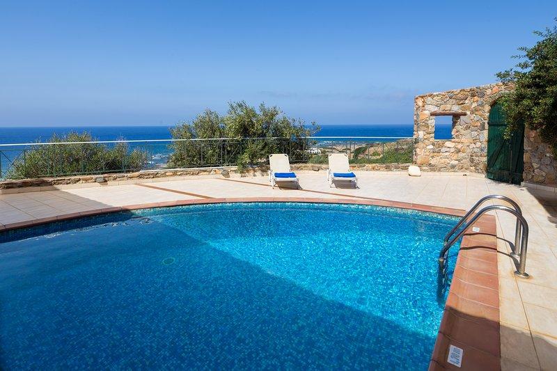 Amazing Views villa Artemis, w/ Pool/Walk to Tavern. 20 min drive to Elafonissi. – semesterbostad i Amigdhalokefali