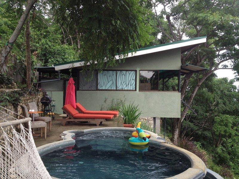 paseo por la cubierta privada con barbacoa, sillas y su propia piscina infinity con jacuzzi.
