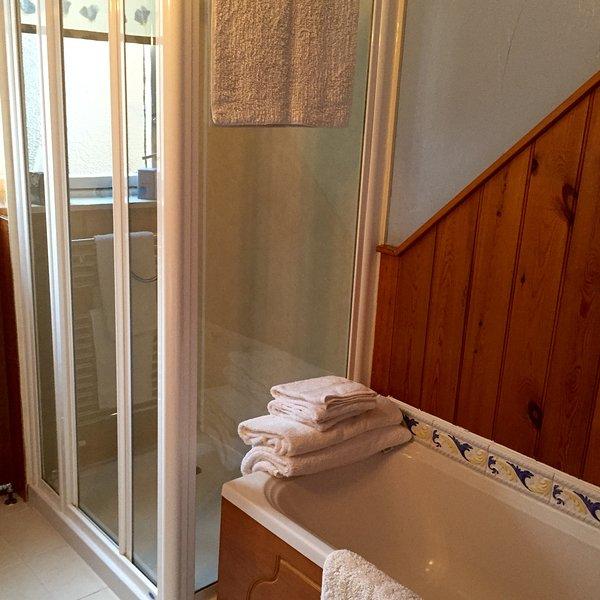 Salle de bains avec baignoire et douche séparée