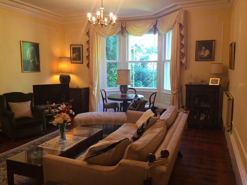 Drawing room with classic artwork and ample space