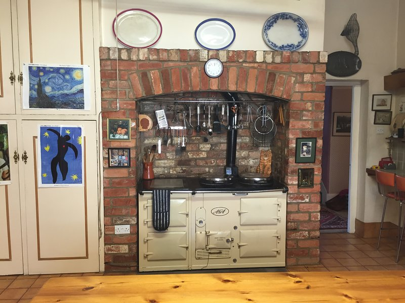 Original working AGA ensures a warm kitchen at all times