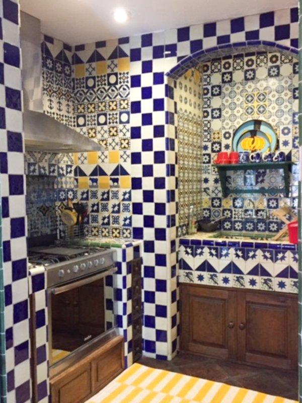 patrón de mosaico en la cocina loca Casa Cho Co Latte diseñado por nosotros!