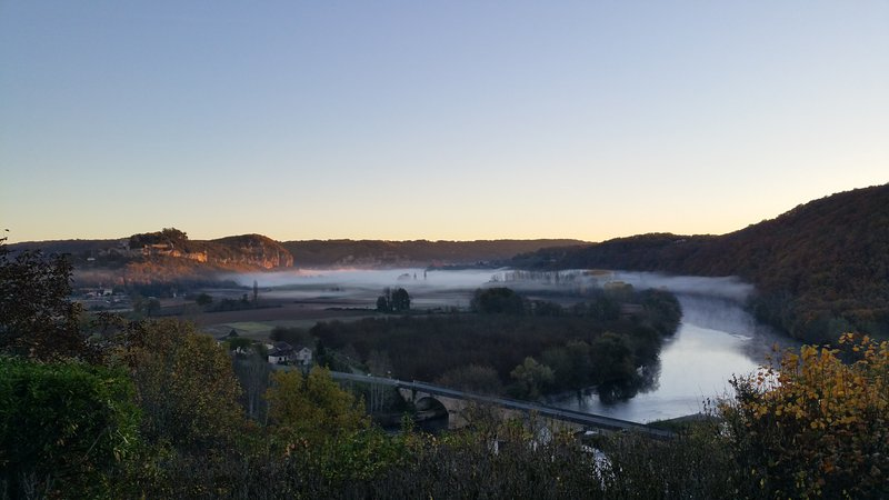 An early morning mist over the river.